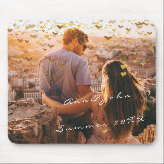 Couple Photo Name Travel Memories Hearst Gold Mouse Pad