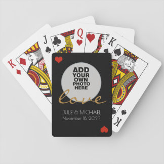 couple photo wedding black poker deck