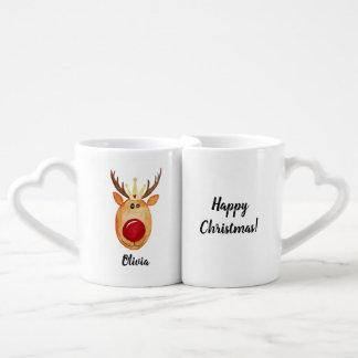 Couple Princess Rudolph Happy Christmas with Names Coffee Mug Set