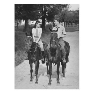 Couple Riding Horses Postcard