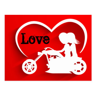 Couple Riding Motorcycle, Heart and Love Postcard