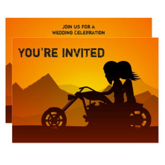 Couple Riding Motorcycle Mountains Wedding Invite