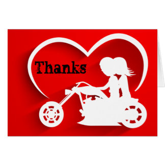 Couple Riding Motorcycle Thanks Thank You Card