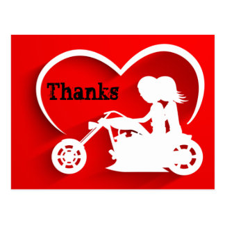 Couple Riding Motorcycle Thanks Thank You Postcard