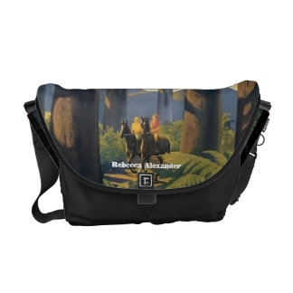 Couple Riding on Horses in Australia Travel Art Messenger Bag