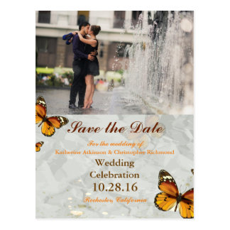 Couple romance kiss in fountain/butterfly postcard
