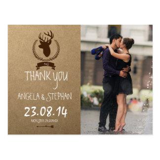 Couple romance kiss in fountain/deer theme postcard