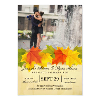 Couple romance kiss in fountain/fall theme card