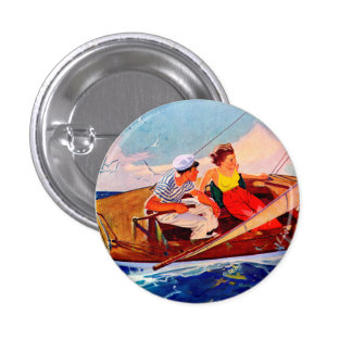 Couple Sailing by R.J. Cavaliere 1 Inch Round Button