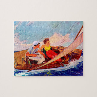 Couple Sailing by R.J. Cavaliere Jigsaw Puzzle