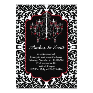 "Couple shower black leafy damask, chandelier 4.5"" x 6.25"" invitation card"