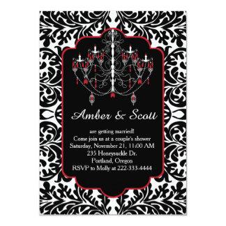 Couple shower black leafy damask, chandelier card