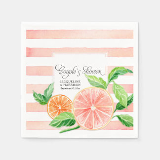 Couple Shower Modern Pink Grapefruit Orange Citrus Disposable Napkin