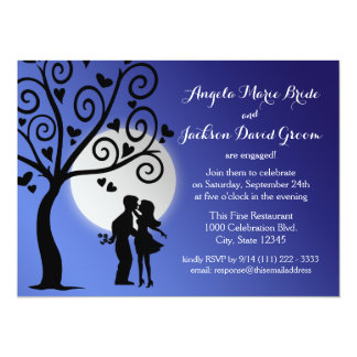 Couple Silhouette Engagement Party Card
