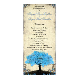 Couple Silhouette Tree Vintage Wedding Program Customized Rack Card