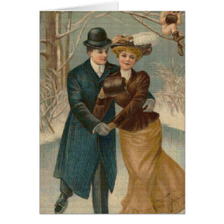 Couple Skating Cross Stitch Greeting Card