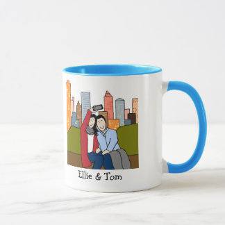 Couple taking selfie- personalized cartoon mug