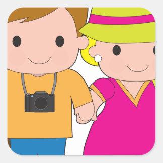 Couple Travel Square Sticker