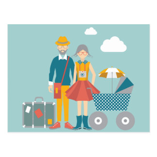 Couple traveling with baby carriage postcard