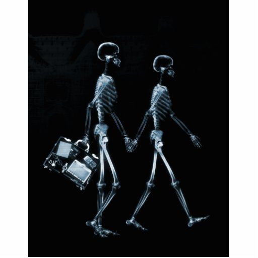 Couple Traveling X-Ray Vision Skeletons - Blue Acrylic Cut Out