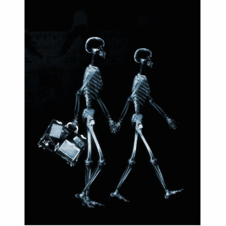 Couple Traveling X-Ray Vision Skeletons - Blue Standing Photo Sculpture