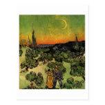 Couple Walking and Crescent Moon, Vincent van Gogh Postcard