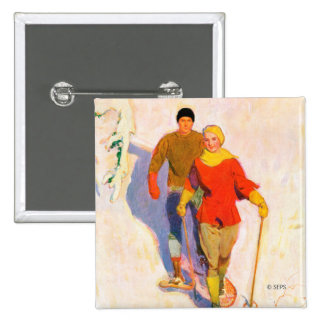 Couple Wearing Snowshoes by McClelland Barclay 2 Inch Square Button