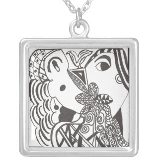 Couple with Bird Square Pendant Necklace