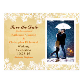Couple with umbrella kissing at snow postcard