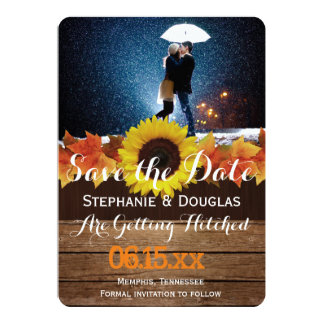 Couple with umbrella kissing at snow/Save The Date Card
