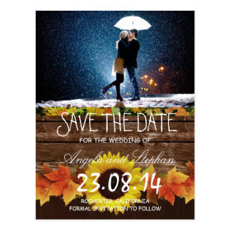 Couple with umbrella kissing at snow/Save The Date Postcard