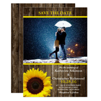 Couple with umbrella kissing at snow/sunflower card