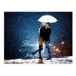 Couple with umbrella kissing at snow/Thank You Postcard