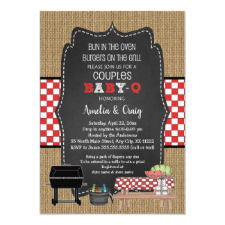 Couples Baby Shower, Baby Q, burgers on the grill Card