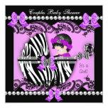 Couples Baby Shower Girl Zebra Purple Personalized Invitation