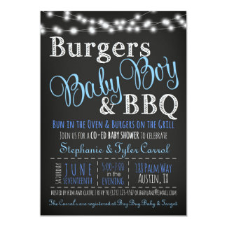 Couples Coed Burger Baby Boy BBQ Shower Invitation