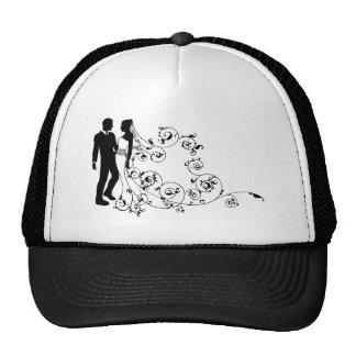 Couples de mariage de jeunes mariés de silhouette casquette de camionneur