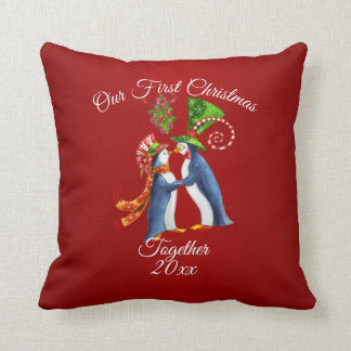 Couples First Christmas Holiday Penguins Throw Pillow