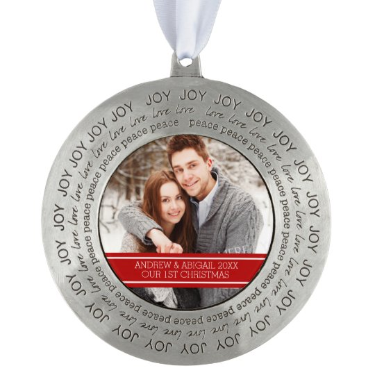 Couples First Christmas Ornament Red White Round Pewter Ornament
