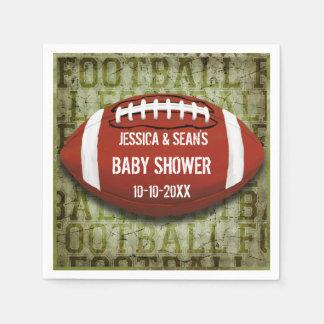 Couples Football Baby Shower Green Grunge Napkin