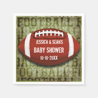 Couples Football Baby Shower Green Grunge Paper Napkins