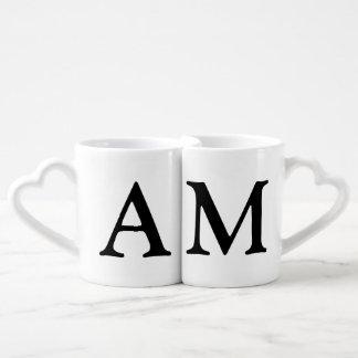 couples' . her & his initials coffee mug set
