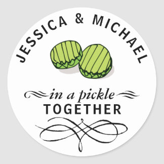 Couples' In a Pickle Together Personalized Classic Round Sticker