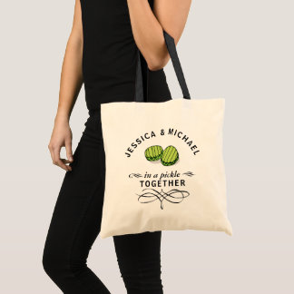 Couples' In a Pickle Together Personalized Tote Bag