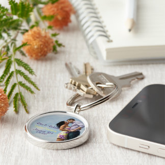 Couples in Love. | Key Chain. Silver-Colored Round Keychain