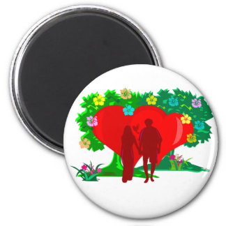 couples in red heart and flowers 2 inch round magnet
