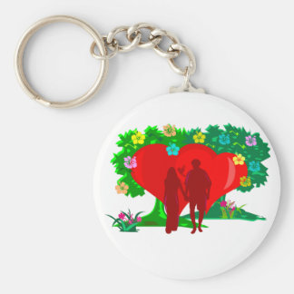 couples in red heart and flowers basic round button keychain