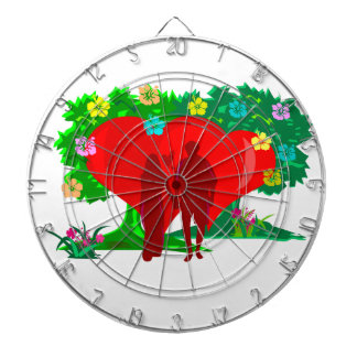 couples in red heart and flowers dartboard