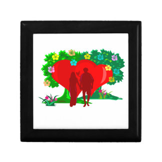 couples in red heart and flowers gift box