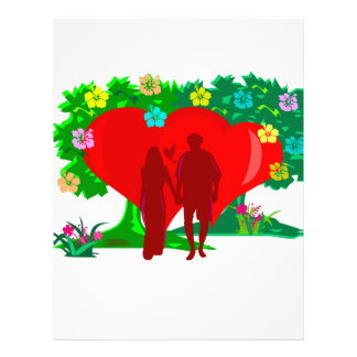 couples in red heart and flowers letterhead